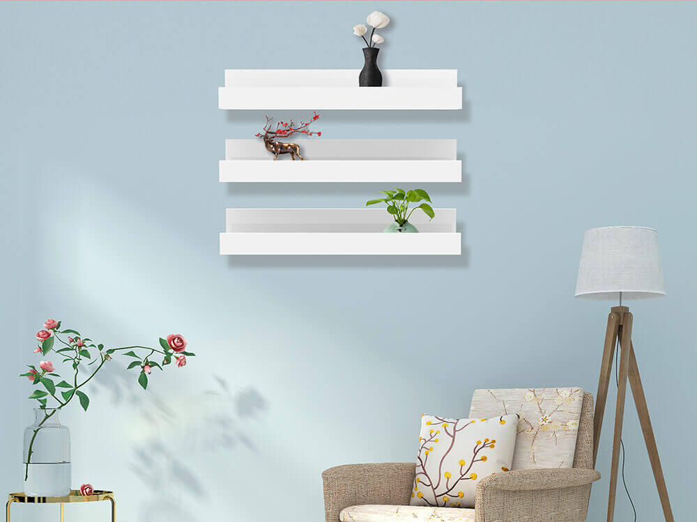 White floating shelves U shaped