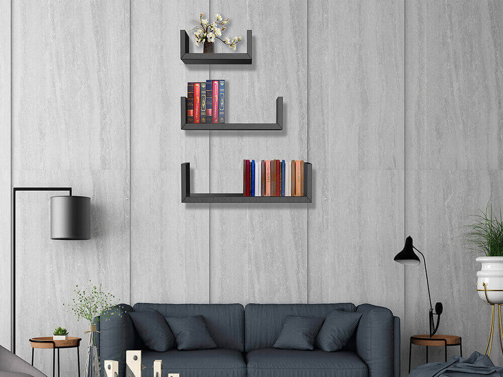 U shaped floating wall shelves